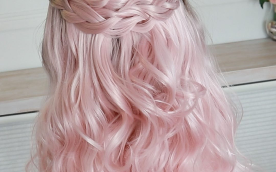 Pink Braided Half updo